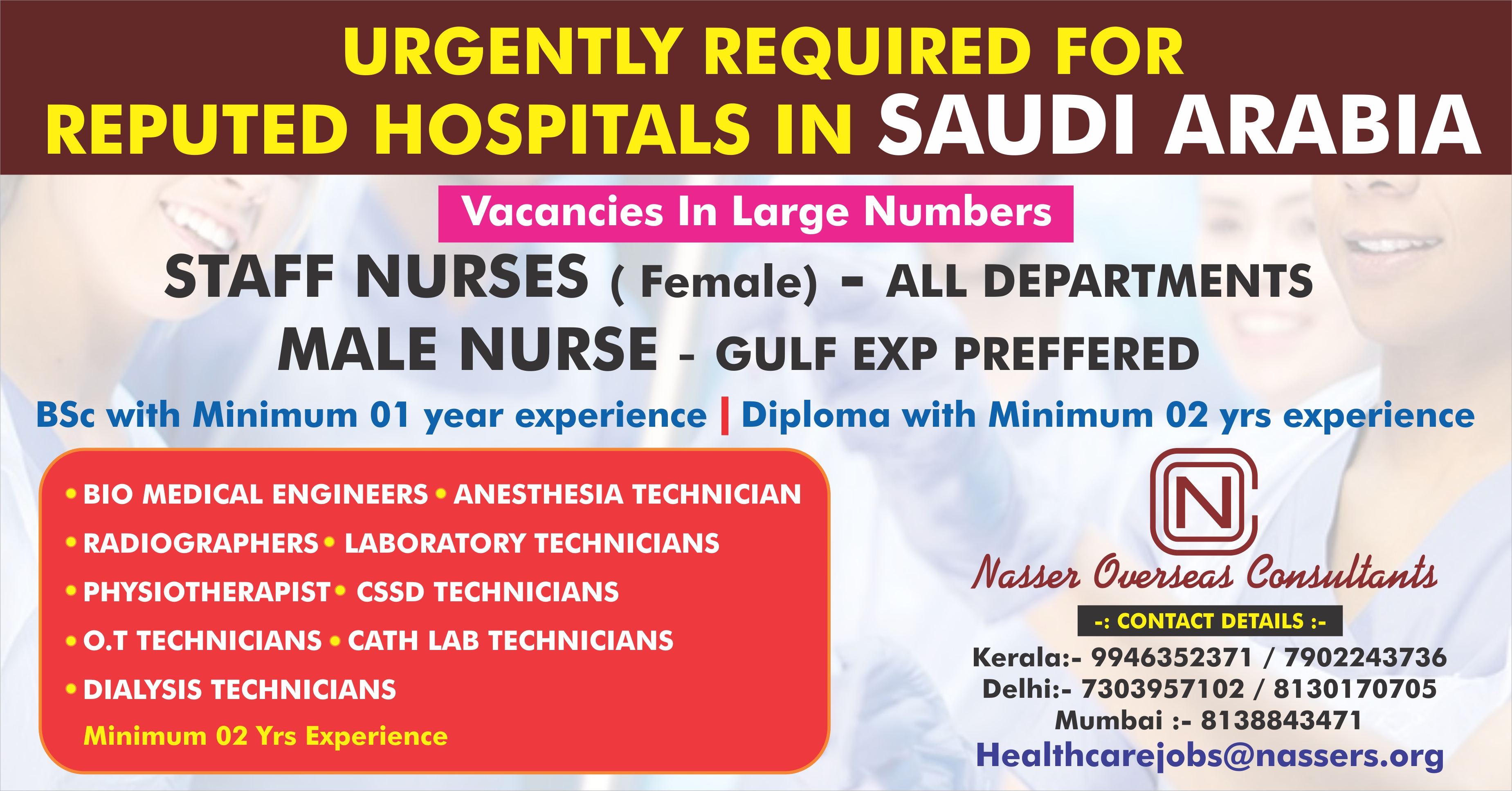 Urgently required for reputed Hospitals in Saudi Arabia Vacancies in